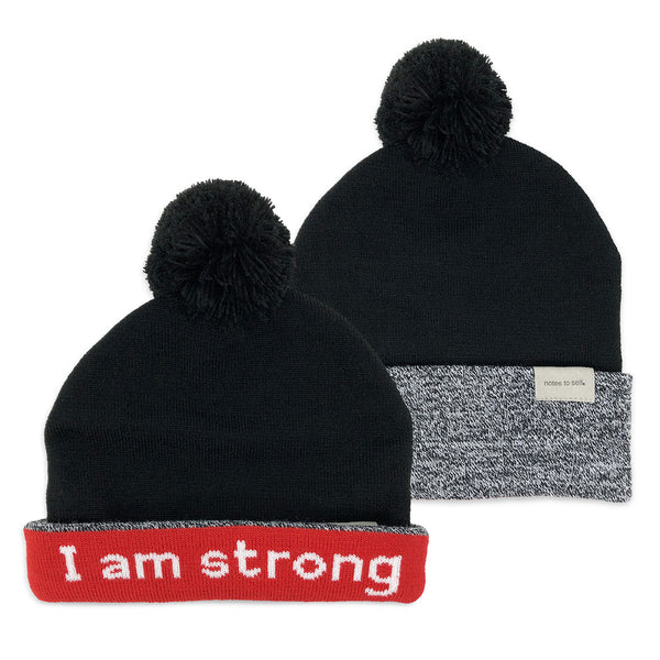 i am strong beanie hat shown with single and double cuff