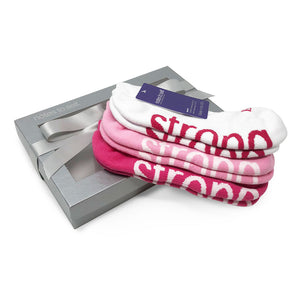 i am strong sock 3 pair gift set in silver gift box