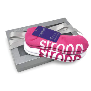 i am strong bright pink sock gift set