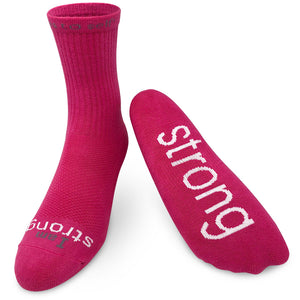 i am strong crew socks in bright pink