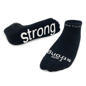 i am strong black socks with inspirational message