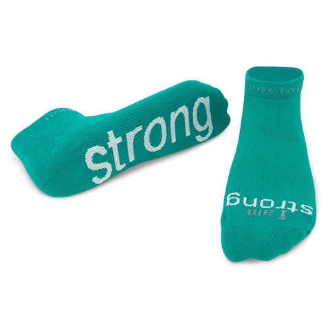 i am strong teal blue socks with motivational message