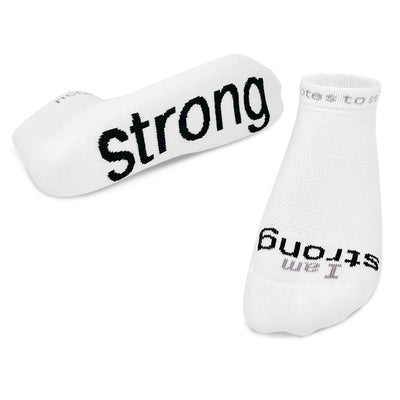 i am strong socks low cut white with black words