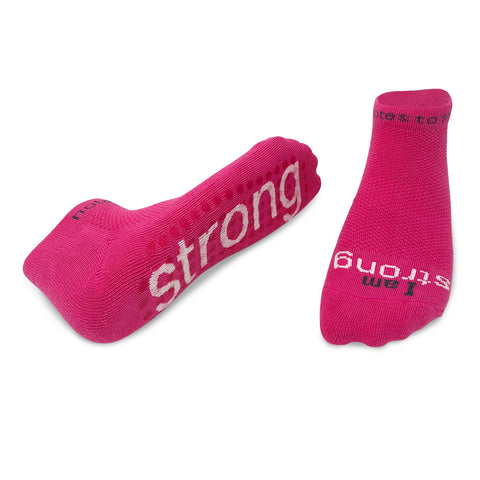 i am strong bright pink socks with non slip grips