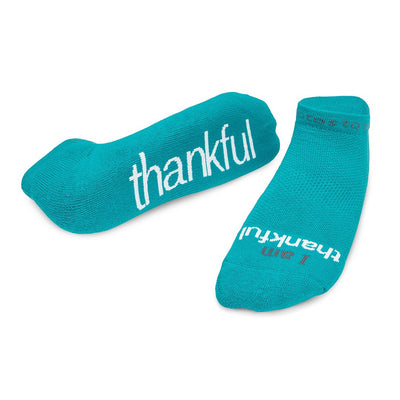 i am thankful socks with positive message