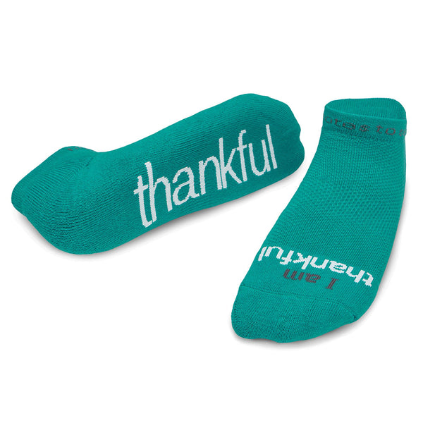 i am thankful teal low cut socks