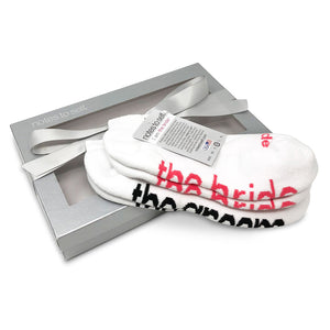 wedding shower gift i am the bride socks i am the groom socks in silver box