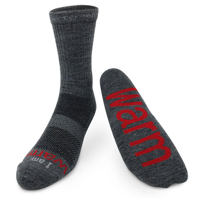 i am warm wool crew socks with positive message