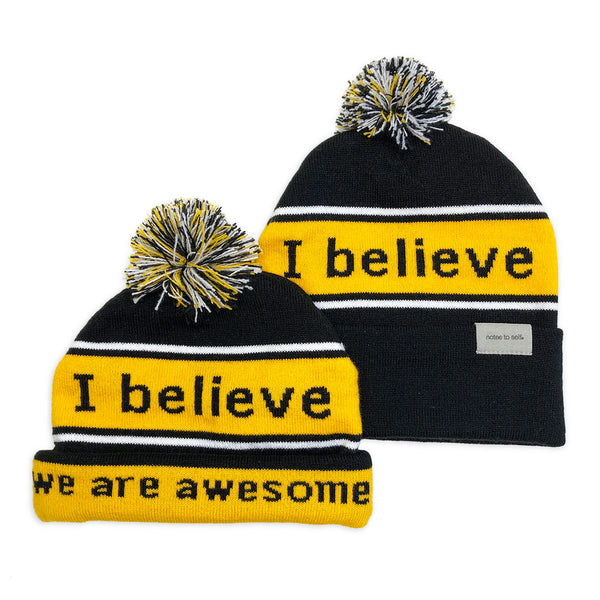 i believe beanie hat in black and yellow shown with single and double cuff