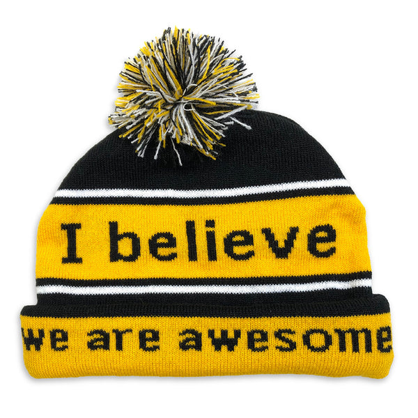 i believe black and yellow beanie shown with double cuff