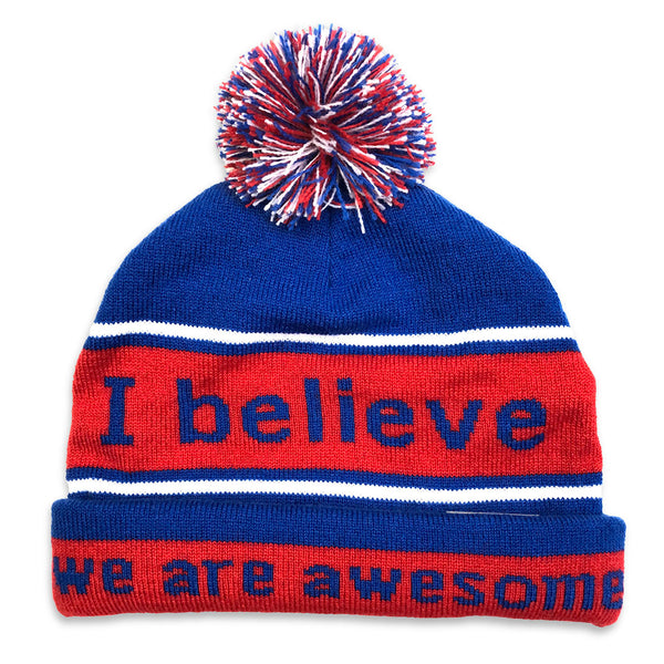 i believe we are awesome blue and red beanie shown with double cuff
