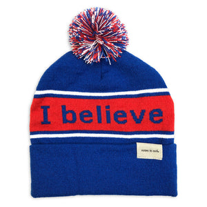 i believe we are awesome blue and red beanie show with single cuff