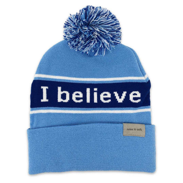 i believe beanie hat with positive affirmation reminder