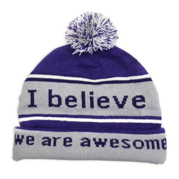 i believe we are awesome purple beanie with double cuff