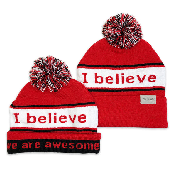 i believe we are awesome red and black beanies
