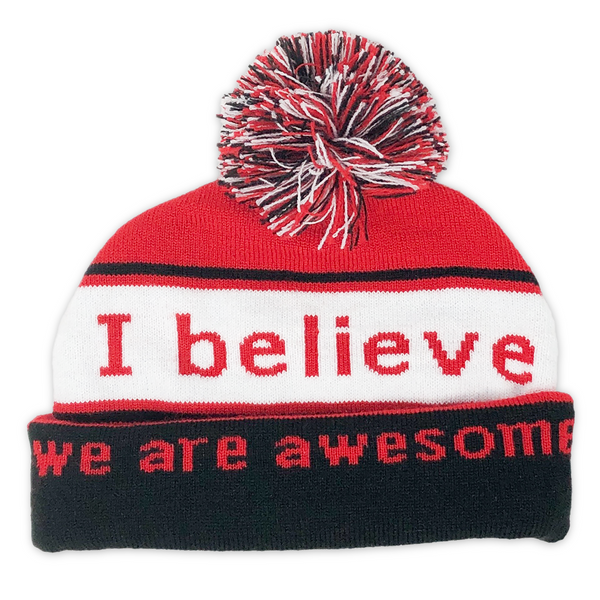 i believe we are awesome beanie with double cuff