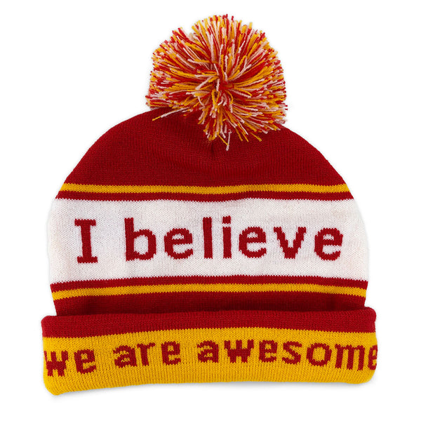 i believe beanie hat with we are awesome positive affirmation inside