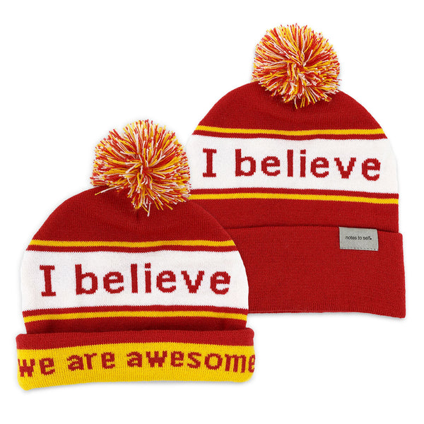 i believe beanie hat in red and yellow shown with single and double cuff