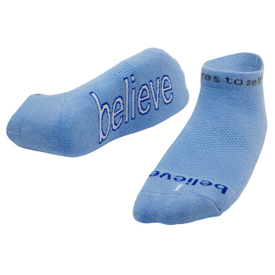 i believe blue socks with inspirational message