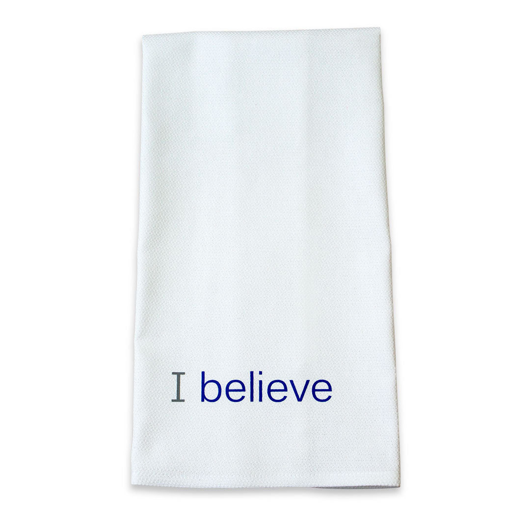 i believe cotton towel with royal blue inspirational words