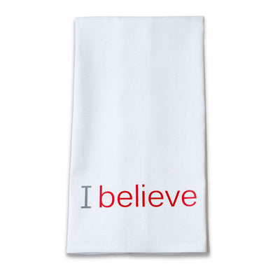 i believe cotton towel with red inspirational words