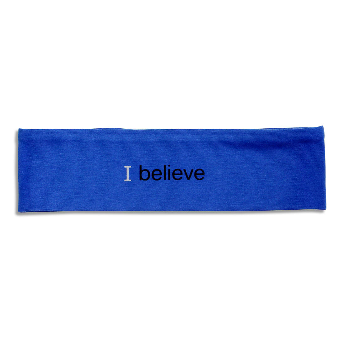 i believe royal blue headband with positive message