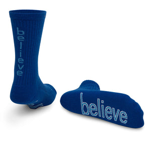 i believe royal blue crew socks with inspirational message