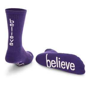 i believe purple crew socks with inspirational message