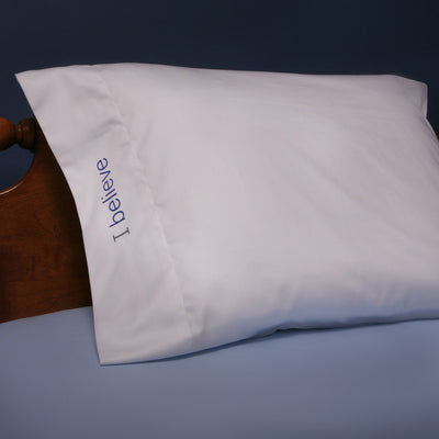 i believe cotton pillowcase with royal blue words