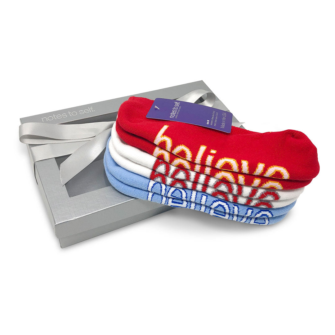 i believe sock gift set in chiefs red royals blue
