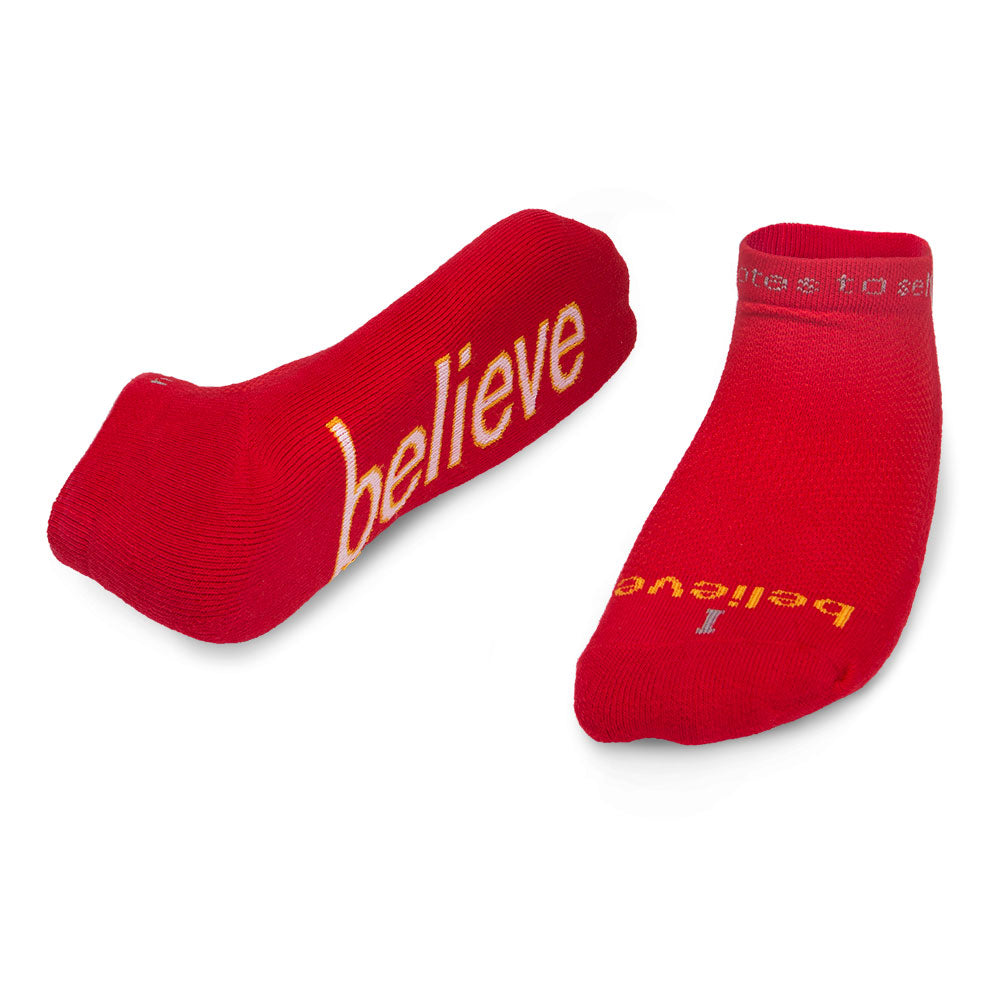 i believe red socks with inspirational message