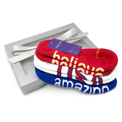 sock gift set i believe socks we are awesome usa socks i am amazing socks in silver box