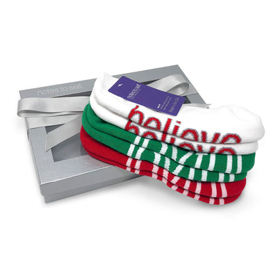 i am joyful i believe red and green sock gift in box