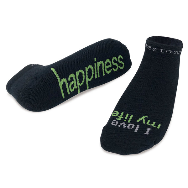 i am destined happiness black socks green words
