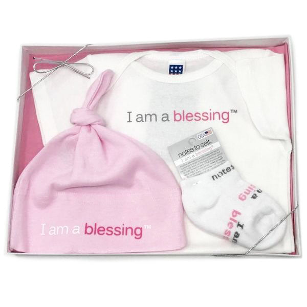i am a blessing sock hat one-piece shirt pink gift set