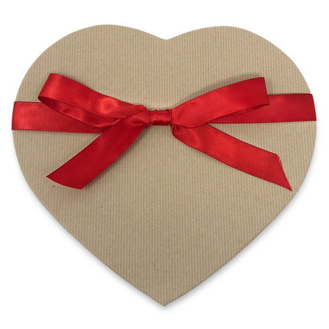 craft tan heart-shaped gift box with red ribbon