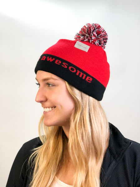 i believe beanie hat in red and white shown with large single cuff