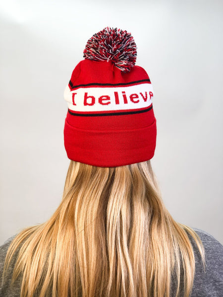 i believe beanie hat in red and white shown from back