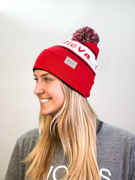 knit beanie I believe™ outside and we are awesome™ inside - red/black/white w/pom