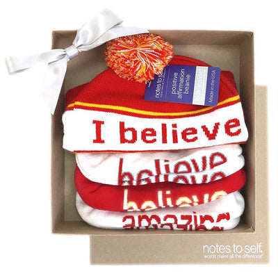 we believe red themed sock and beanie set in a kraft box
