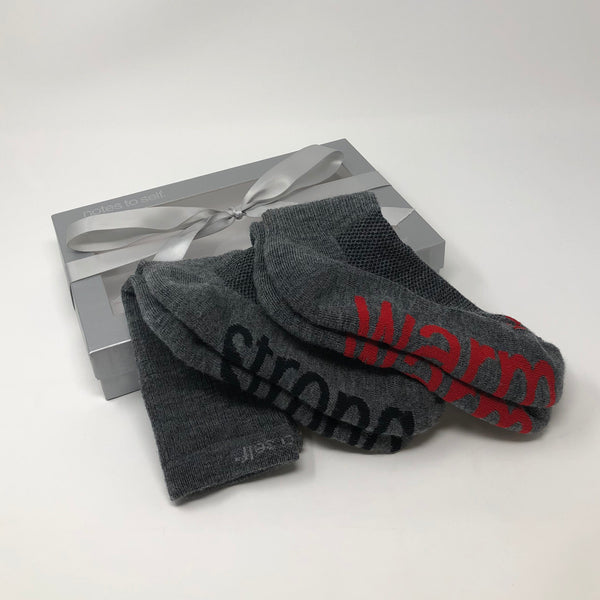 'I am strong'™ + 'I am warm'™ wool crew socks in silver gift box