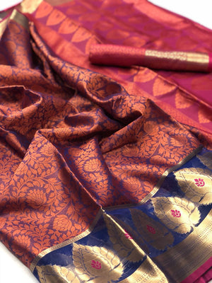 Coral Tree Muslin Silk  Saree with Blouse