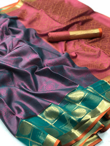 Almond Frost Muslin Silk  Saree with Blouse