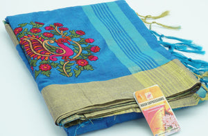 Curious Blue Silk Cotton with Embroidery  Saree with Blouse
