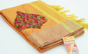 Rajah Silk Cotton with Embroidery  Saree with Blouse