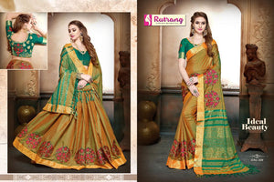 Avocado Silk Cotton with Embroidery  Saree with Blouse