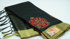 Outer Space Silk Cotton with Embroidery  Saree with Blouse