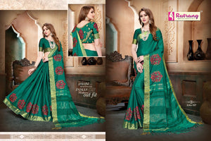 Persian Green Silk Cotton with Embroidery  Saree with Blouse