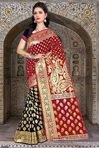 Punch Banarasi Silk  Saree with Blouse