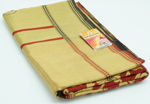 Mule Fawn Banarasi Silk  Saree with Blouse